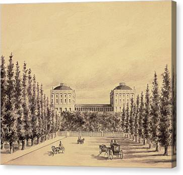 United States Capitol From Pennsylvania Avenue Canvas Print by Benjamin Henry Latrobe