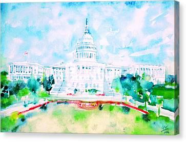 United States Capitol - Watercolor Portrait Canvas Print