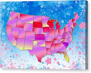 United States Colorful Map 3 Canvas Print