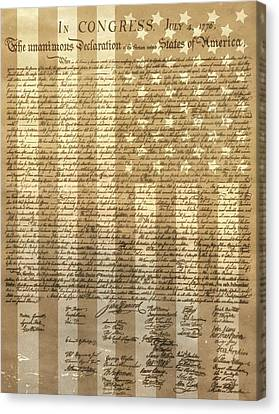 Democrats Canvas Print - United States Declaration Of Independence by Dan Sproul
