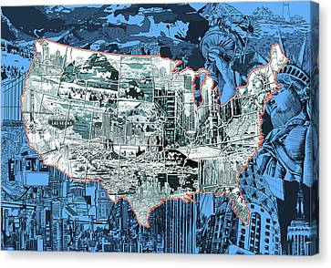 Abstract Digital Canvas Print - United States Drawing Collage Map 2 by Bekim Art