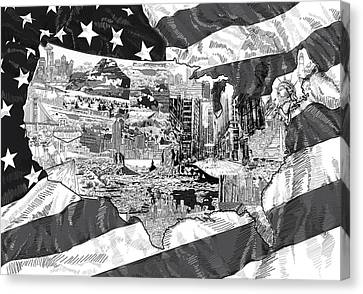 Liberty Canvas Print - United States Drawing Collage Map 5 by Bekim Art