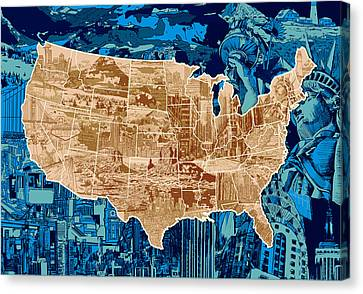 United States Drawing Collage Map  Canvas Print