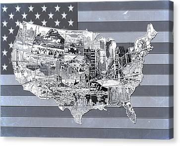 United States Flag Map 2 Canvas Print