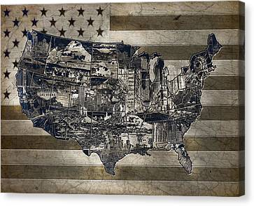 United States Flag Map Vintage 4 Canvas Print