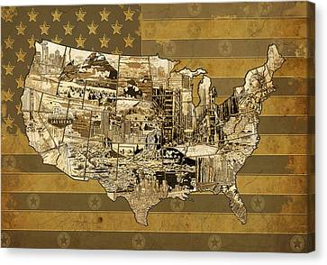 United States Flag Map Vintage Canvas Print