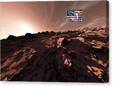 United States Flag On Mars Canvas Print by Detlev Van Ravenswaay