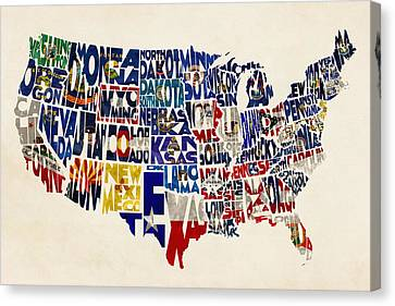 United States Flags Map Canvas Print