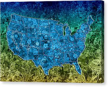 Abstract Digital Canvas Print - United States Floral Map 3 by Bekim Art