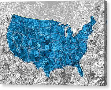 United States Floral Map  Canvas Print