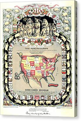 United States Map 1876 Canvas Print by Padre Art