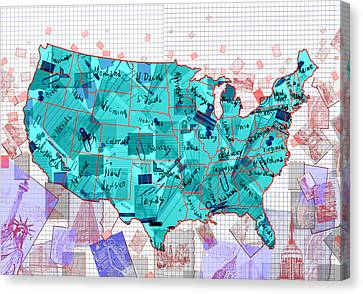 United States Map Collage 2 Canvas Print