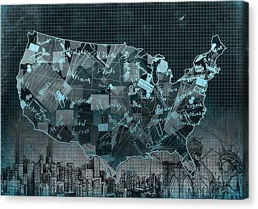 United States Map Collage 5 Canvas Print