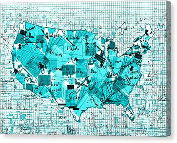 United States Map Collage 8 Canvas Print