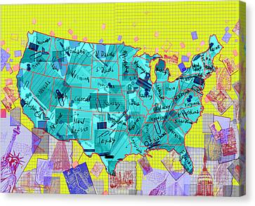 United States Map Collage Canvas Print