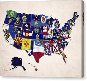 United States Map With Fifty States Canvas Print by World Art Prints And Designs