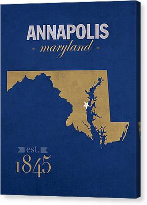 United States Naval Academy Navy Midshipmen Annapolis College Town State Map Poster Series No 070 Canvas Print by Design Turnpike