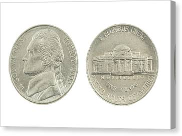 United States Nickel On White Background Canvas Print by Keith Webber Jr