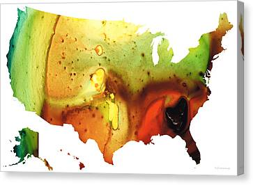 United States Of America Map 5 - Colorful Usa Canvas Print by Sharon Cummings