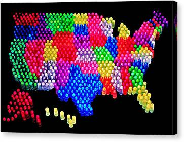 United States Of Lite Brite Canvas Print by Benjamin Yeager