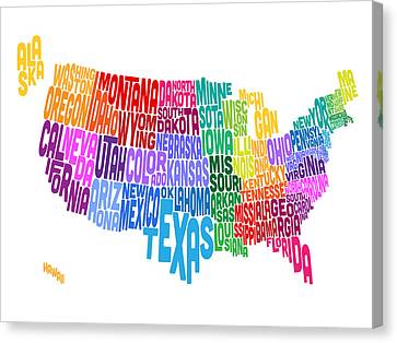 United States Typography Text Map Canvas Print by Michael Tompsett