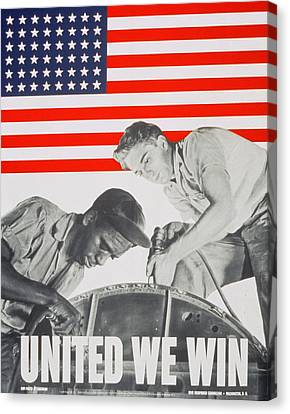 Sli Canvas Print - United We Win Us 2nd World War Manpower Commission Poster by Anonymous