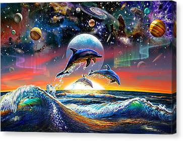 Universal Dolphins Canvas Print by Adrian Chesterman