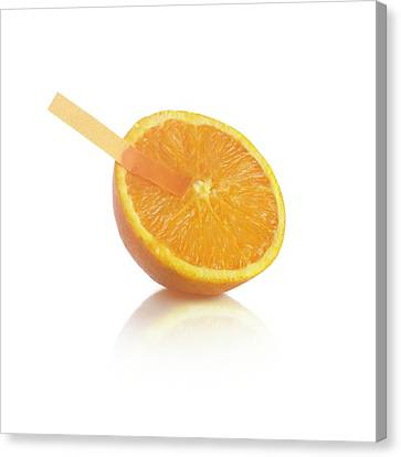 Universal Indicator Test On An Orange Canvas Print by Science Photo Library