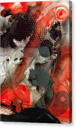 Flow Canvas Print - Universal Qi - Zen Black And Red Art by Sharon Cummings