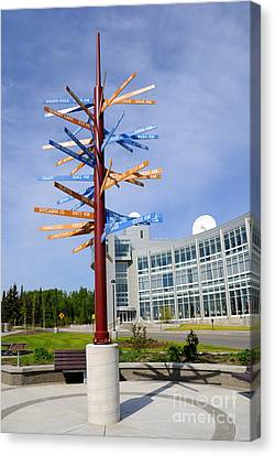 University Of Alaska Fairbanks Milepost Canvas Print by Gary Whitton