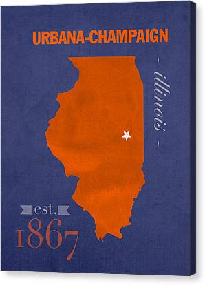 University Of Illinois Fighting Illini Urbana Champaign College Town State Map Poster Series No 047 Canvas Print by Design Turnpike