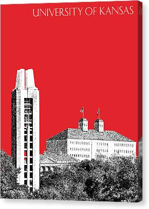 Memorial Canvas Print - University Of Kansas - Red by DB Artist