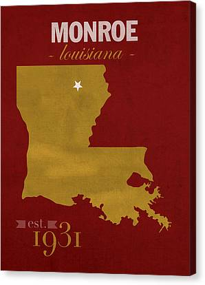 University Of Louisiana Monroe Warhawks College Town State Map Poster Series No 058 Canvas Print by Design Turnpike
