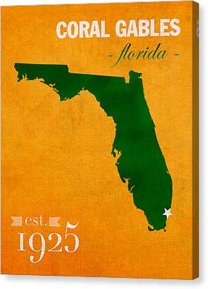 University Of Miami Hurricanes Coral Gables College Town Florida State Map Poster Series No 002 Canvas Print by Design Turnpike