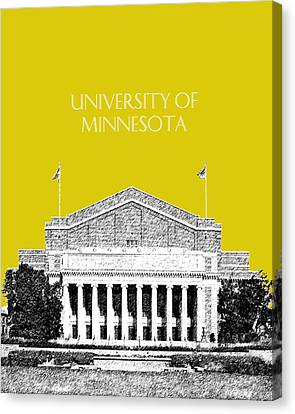 University Of Minnesota 2 - Northrop Auditorium - Mustard Yellow Canvas Print by DB Artist