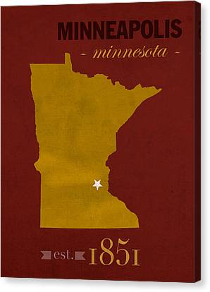 University Of Minnesota Golden Gophers Minneapolis College Town State Map Poster Series No 066 Canvas Print by Design Turnpike