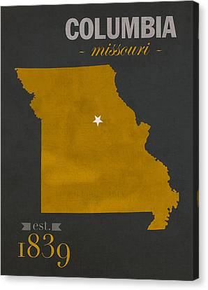 University Of Missouri Tigers Columbia Mizzou College Town State Map Poster Series No 069 Canvas Print by Design Turnpike