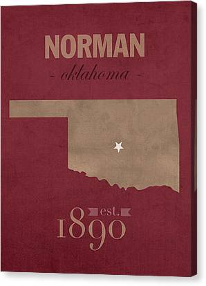 University Of Oklahoma Sooners Norman College Town State Map Poster Series No 083 Canvas Print by Design Turnpike