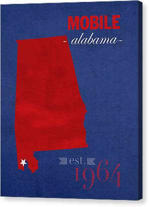 University Of South Alabama Jaguars Mobile College Town State Map Poster Series No 095 Canvas Print by Design Turnpike