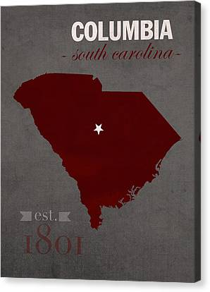 University Of South Carolina Gamecocks Columbia College Town State Map Poster Series No 096 Canvas Print by Design Turnpike