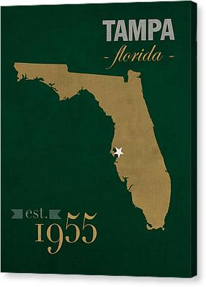 Bulls Canvas Print - University Of South Florida Bulls Tampa Florida College Town State Map Poster Series No 101 by Design Turnpike