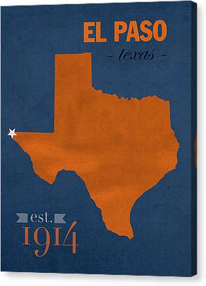 University Of Texas Canvas Print - University Of Texas At El Paso Utep Miners College Town State Map Poster Series No 110 by Design Turnpike