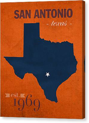 University Of Texas At San Antonio Roadrunners College Town State Map Poster Series No 111 Canvas Print by Design Turnpike