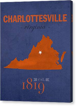 University Of Virginia Cavaliers Charlotteville College Town State Map Poster Series No 119 Canvas Print by Design Turnpike