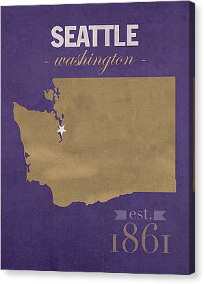 University Of Washington Huskies Seattle College Town State Map Poster Series No 122 Canvas Print by Design Turnpike