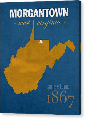 University Of West Virginia Mountaineers Morgantown Wv College Town State Map Poster Series No 124 Canvas Print by Design Turnpike