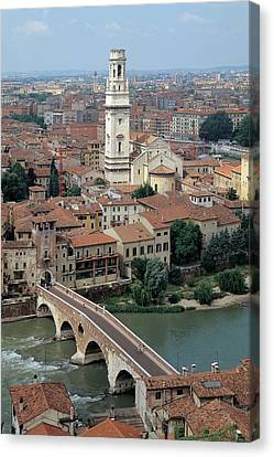 Unknown Artist, Gateway To Ponte Pietra Canvas Print by Everett