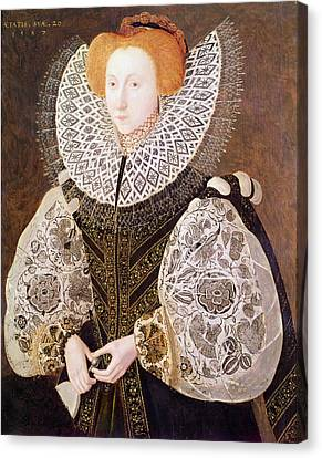 Ostrich Fan Canvas Print - Unknown Girl, Aged 20, 1587 Oil On Panel by John, the Younger Bettes