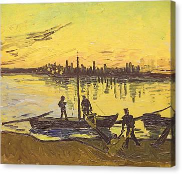 Unloaders In Arles, 1888  Canvas Print by Vincent van Gogh