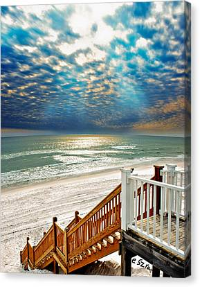 Canvas Print featuring the photograph Rosemary Seaside Beach Florida Staircase White Sand Blue Clouds Art by Eszra